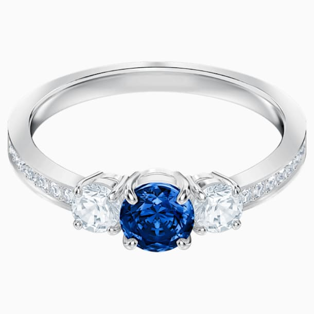 Bague Attract Trilogy Round, bleu, Métal rhodié - Swarovski, 5448850