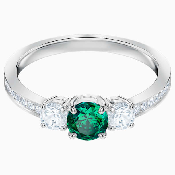 Anello Attract Trilogy Round, verde, Placcatura rodio - Swarovski, 5448891