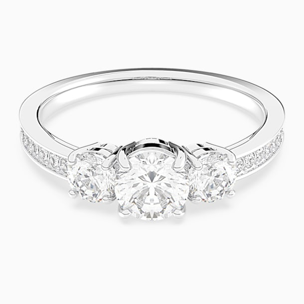 Anillo Attract Trilogy Round, blanco, Baño de Rodio - Swarovski, 5448897