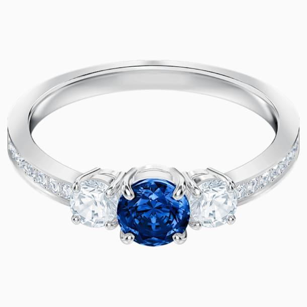 Attract Trilogy Round Ring, Blue, Rhodium plated - Swarovski, 5448900