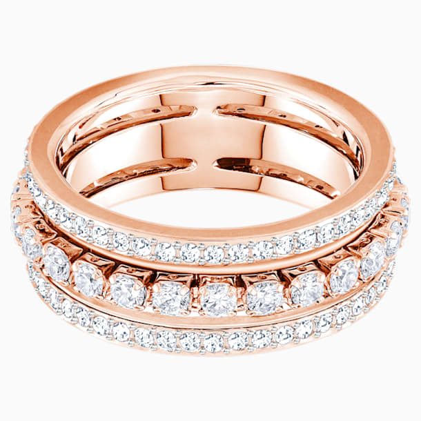 Further Ring, White, Rose-gold tone plated - Swarovski, 5448902