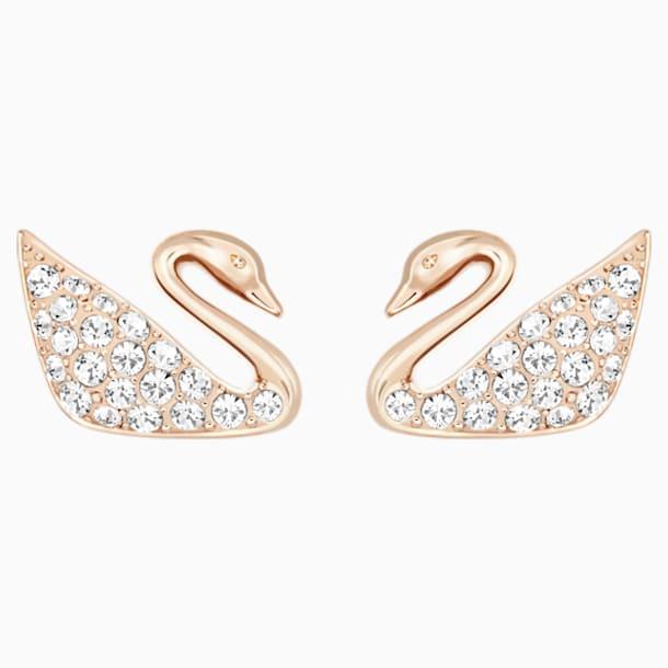 SS Swan Pierced Earrings Mini, CRY/ROS - Swarovski, 5450929