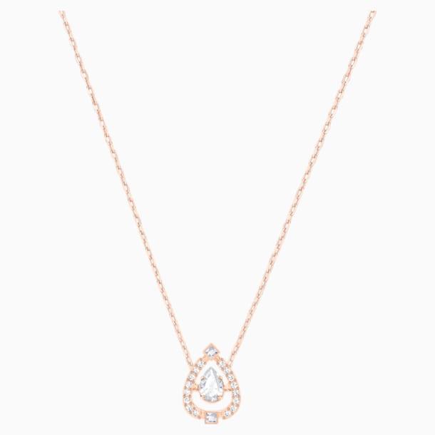 Collar Swarovski Sparkling Dance Pear, blanco, Baño en tono Oro Rosa - Swarovski, 5451993