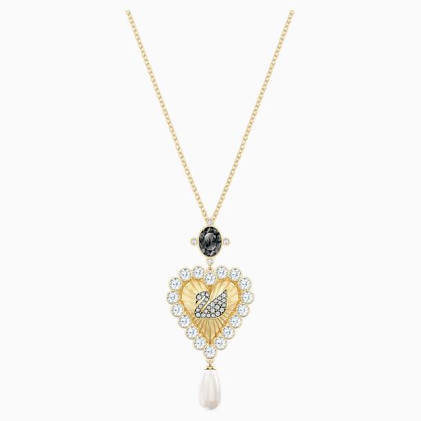 Vintage Swan Pendant, Multi-colored, Gold-tone plated - Swarovski, 5452384