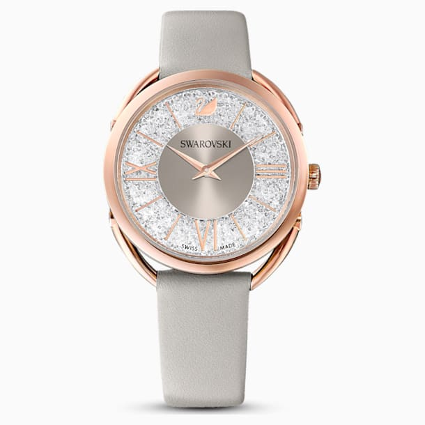 Crystalline Glam Watch, Leather Strap, Gray, Rose-gold tone PVD - Swarovski, 5452455