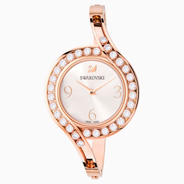 Lovely Crystals Bangle Watch, Metal bracelet, White, Rose-gold tone PVD - Swarovski, 5452489
