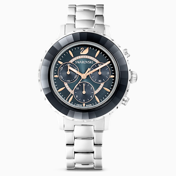 Octea Lux Chrono Watch, Metal bracelet, Dark grey, Stainless steel - Swarovski, 5452504