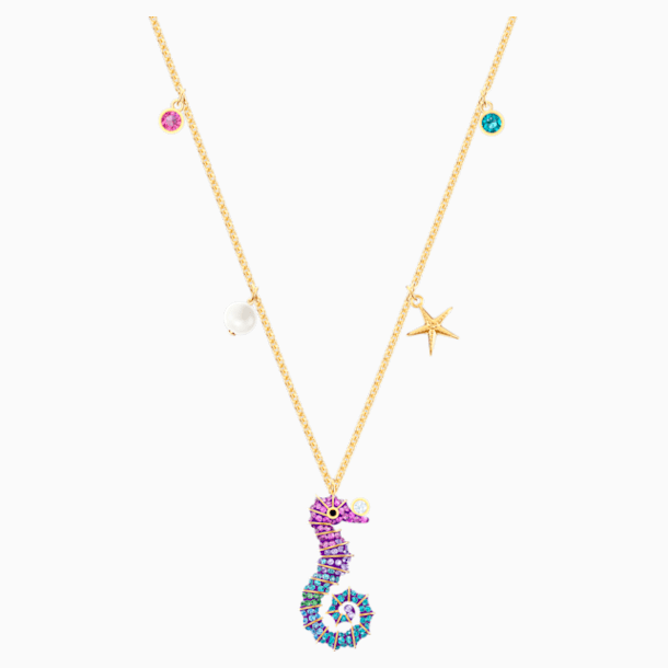 Ocean Seahorse Pendant, Multi-colored, Gold-tone plated - Swarovski, 5452562