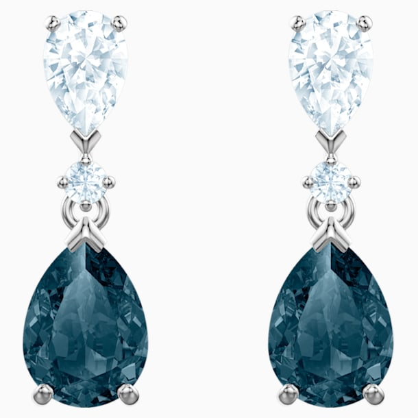 Vintage Pierced Earrings, Blue, Rhodium plated - Swarovski, 5452579