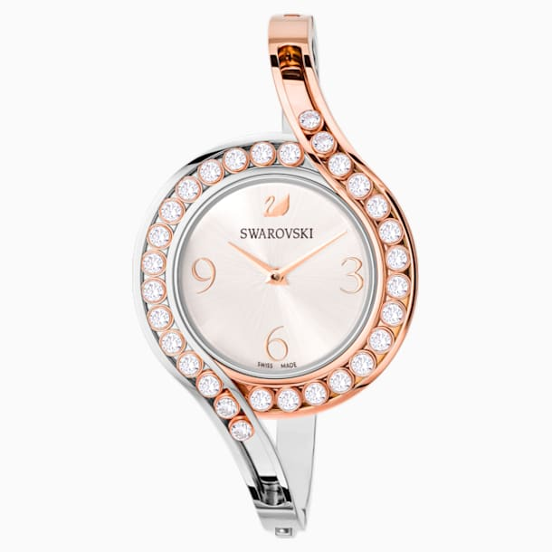 Lovely Crystals Bangle Watch, Metal bracelet, White, Bicolor PVD - Swarovski, 5453651