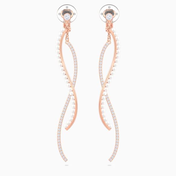 Major Clip Earrings, White, Rose-gold tone plated - Swarovski, 5454334