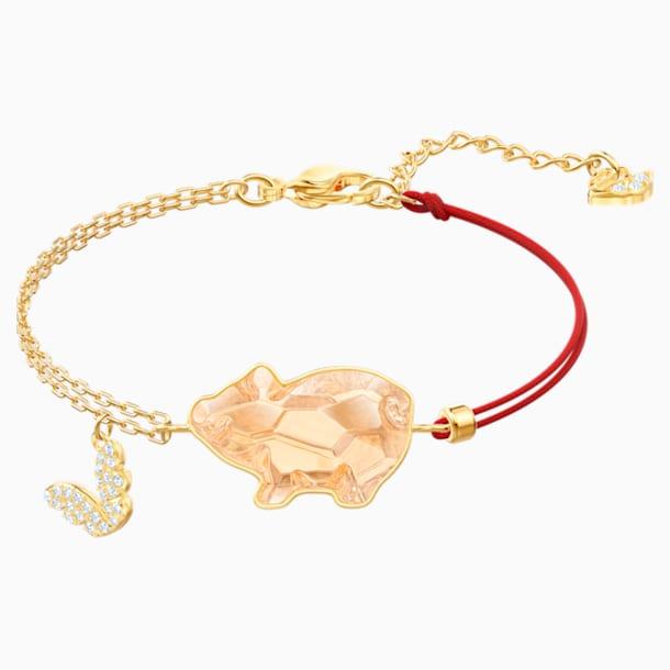 Pets Pig 手鏈, 粉紅色, 鍍金色色調 - Swarovski, 5454468