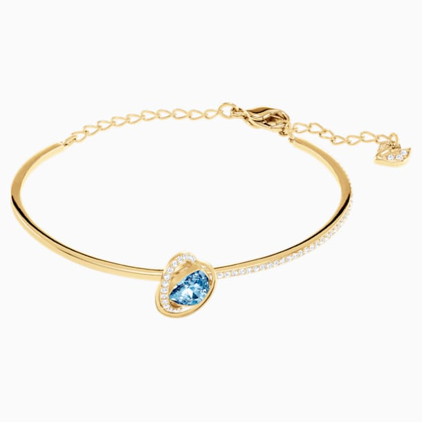 Outstanding Bangle, Aqua, Gold-tone plated - Swarovski, 5455032