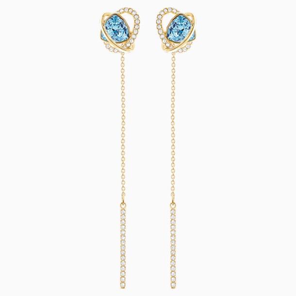 Outstanding Pierced Earrings, Aqua, Gold-tone plated - Swarovski, 5455034