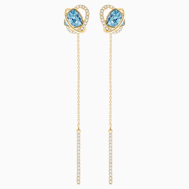 Outstanding Pierced Earrings, Aqua, Gold-tone plated - Swarovski, 5455034