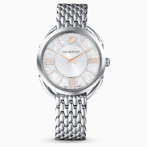 Crystalline Glam Watch, Metal bracelet, White, Stainless steel - Swarovski, 5455108