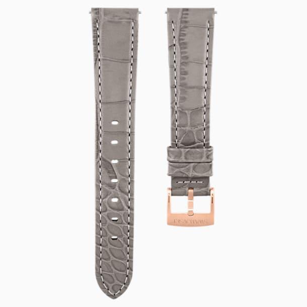 Bracelet de montre 17mm, cuir avec coutures, taupe, métal doré rose - Swarovski, 5455156