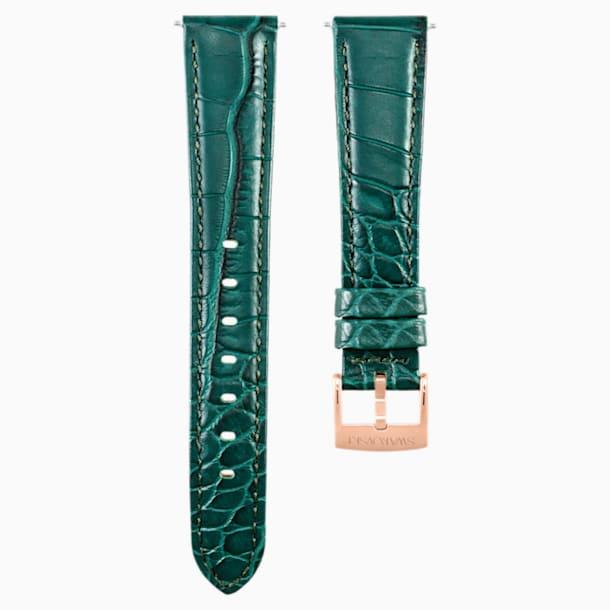 17mm pásek k hodinkám, prošívaná kůže, zelený, pozlaceno růžovým zlatem - Swarovski, 5455159