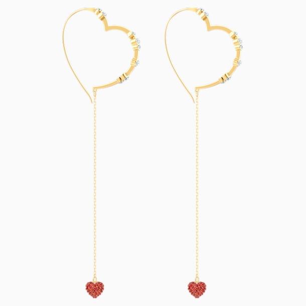 Oxo 穿孔耳環, 紅色, 鍍金色色調 - Swarovski, 5455568