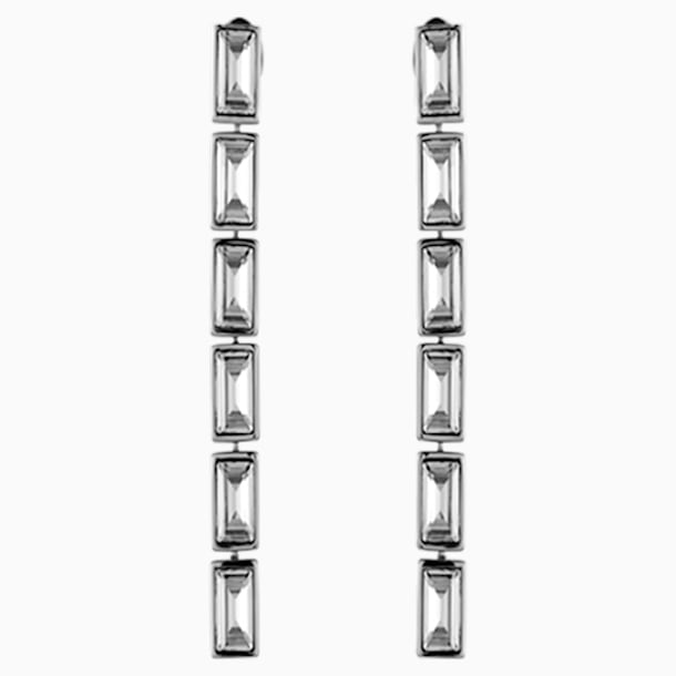 Fluid Drop Pierced Earrings, Gray, Palladium plated - Swarovski, 5455643