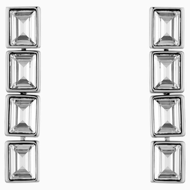 Fluid 水滴形穿色耳環, 灰色, 鍍鈀色 - Swarovski, 5455657