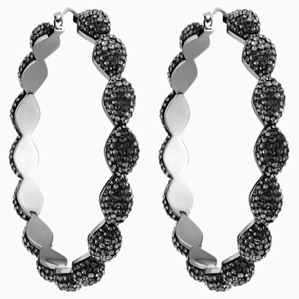Moselle Hoop Pierced Earrings, Gray, Ruthenium plated - Swarovski, 5455694