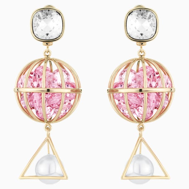 Nostalgia Pierced Earrings, Pink, Rose-gold tone plated - Swarovski, 5457231