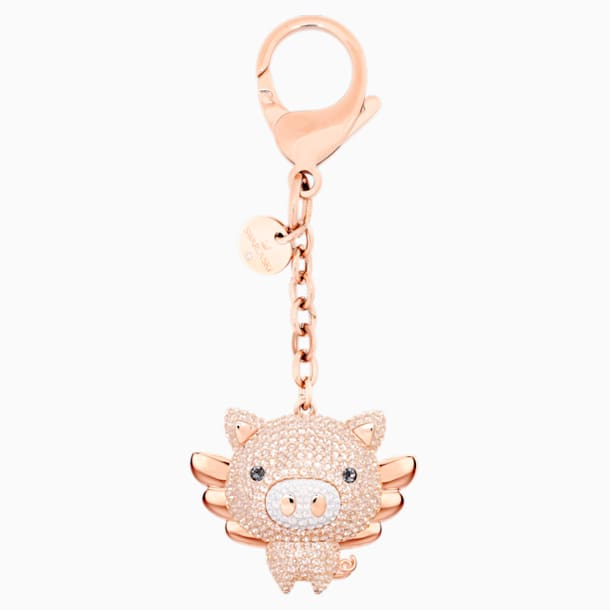 스와로브스키 키링 Swarovski Little Pig Bag Charm, Pink, Mixed plating