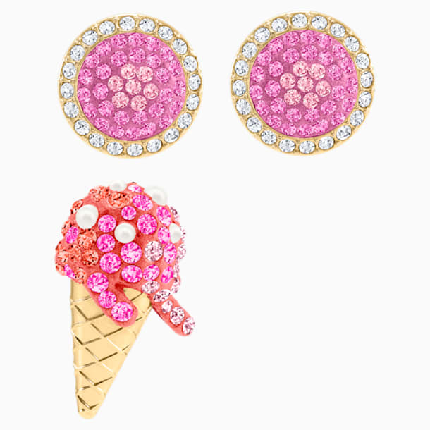 No Regrets Ice Cream Pierced Earrings, Multi-coloured, Gold-tone plated - Swarovski, 5457497