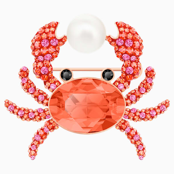 Ocean Crab Brooch, Multi-colored, Rose-gold tone plated - Swarovski, 5457571