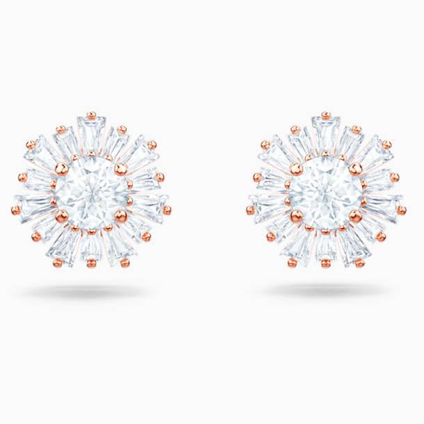 Sunshine Pierced Earrings, White, Rose-gold tone plated - Swarovski, 5459597
