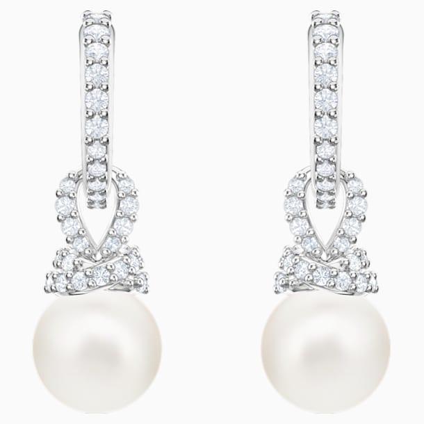 Originally Pierced Earrings, White, Rhodium plated - Swarovski, 5461080