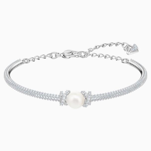 Bracelet-jonc Originally, blanc, Métal rhodié - Swarovski, 5461083