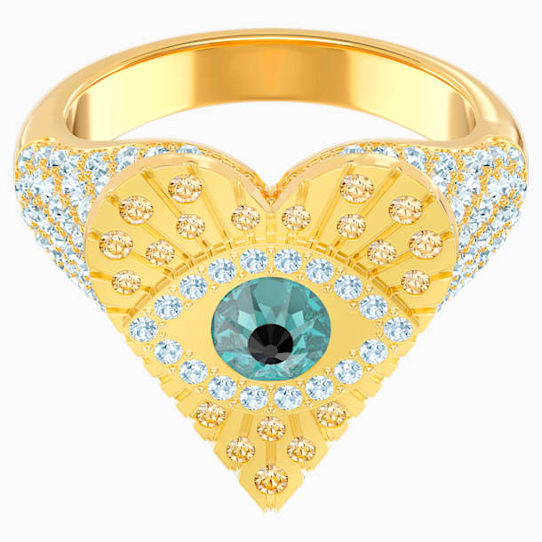 Lucky Goddess Heart Motif Ring, Multi-colored, Gold-tone plated - Swarovski, 5461778