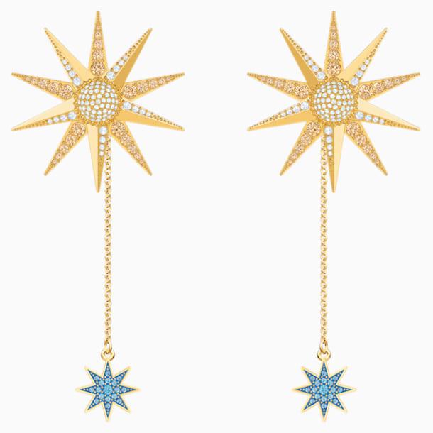 Lucky Goddess Pierced Earrings, Multi-colored, Gold-tone plated - Swarovski, 5464169