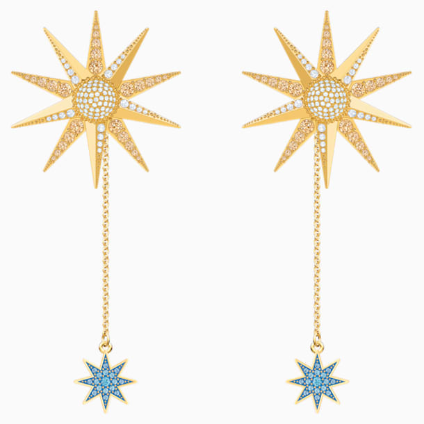Lucky Goddess Pierced Earrings, Multi-coloured, Gold-tone plated - Swarovski, 5464169