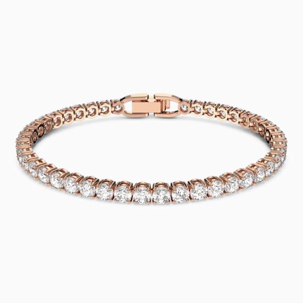 Μπρασελέ Tennis, λευκό, επιχρυσωμένο σε χρυσή ροζ απόχρωση - Swarovski, 5464948