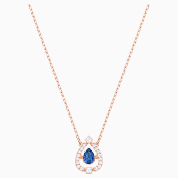 Naszyjnik Swarovski Sparkling Dance Pear, niebieski, w odcieniu różowego złota - Swarovski, 5465281