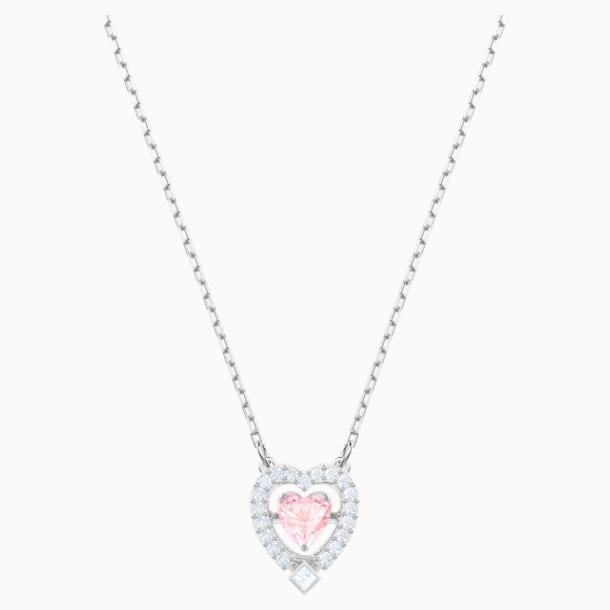 Náhrdelník Swarovski Sparkling Dance Heart, Růžový, Rhodiem pokovený - Swarovski, 5465284