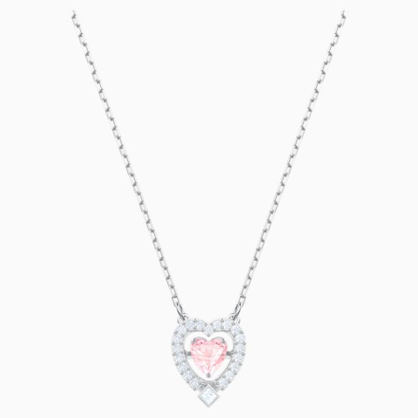 Swarovski Sparkling Dance Heart Necklace, Pink, Rhodium plated - Swarovski, 5465284