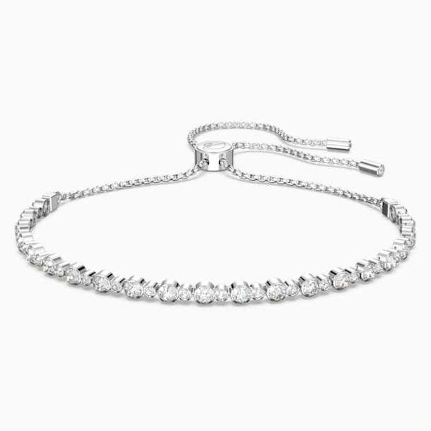 Subtle Bracelet, White, Rhodium plated - Swarovski, 5465384