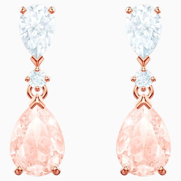 Vintage 穿孔耳环, 粉红色, 镀玫瑰金色调 - Swarovski, 5466888
