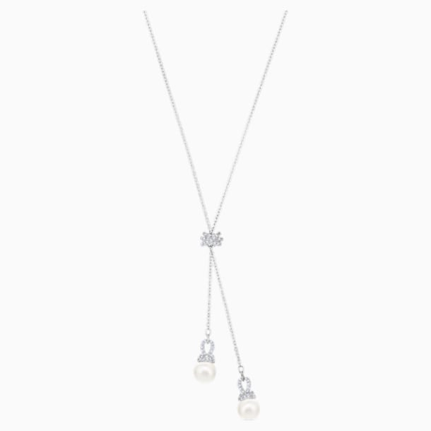 Originally-Y-vormige ketting, Wit, Rodium-verguld - Swarovski, 5467313