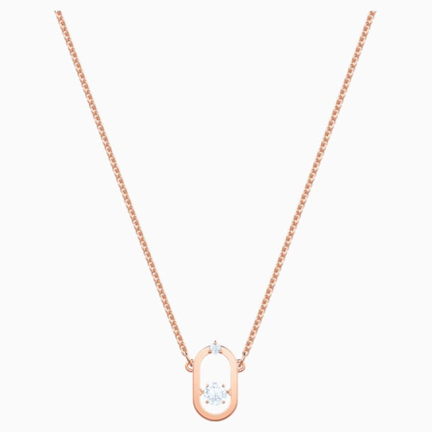 Collana North, bianco, Placcato oro rosa - Swarovski, 5468084