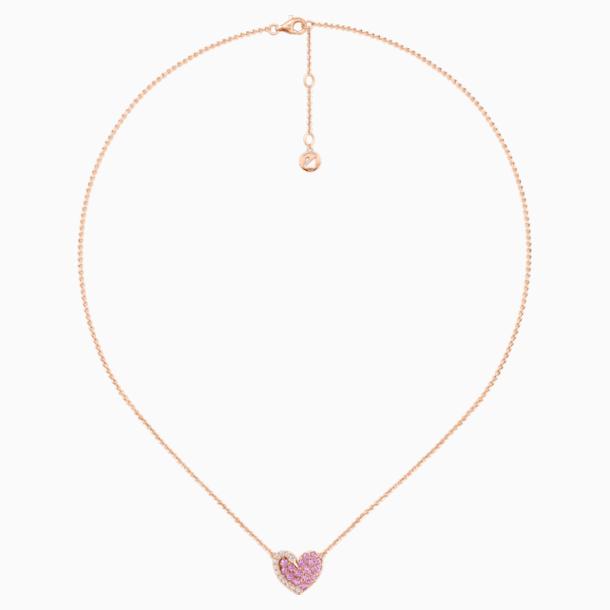 18K RG Swan Heart Necklace (Pink) - Swarovski, 5468486