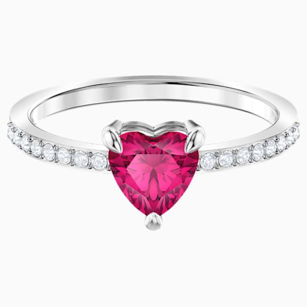 Pierścionek One w kształcie serca, czerwony, powlekany rodem - Swarovski, 5469980