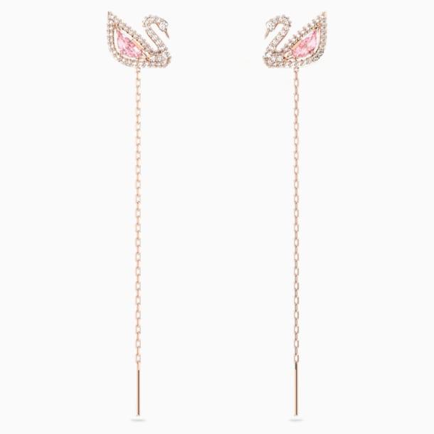 Dazzling Swan İğneli Küpeler, Cok Renkli, Pembe altın rengi kaplama - Swarovski, 5469990