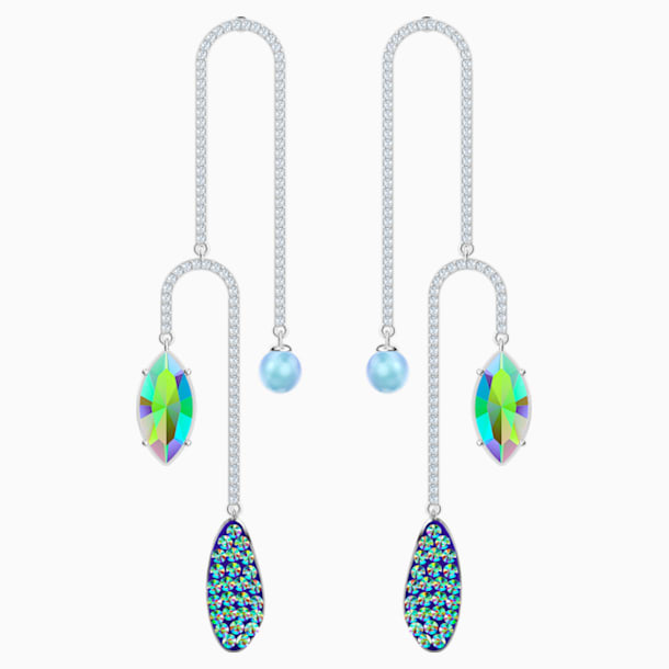 Organic Pierced Earrings, Multi-coloured, Rhodium plated - Swarovski, 5470517