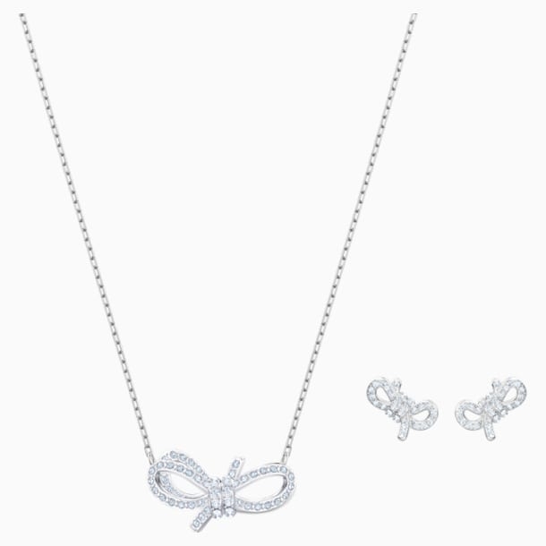 Set Lifelong Bow, bianco, Placcatura rodio - Swarovski, 5470594