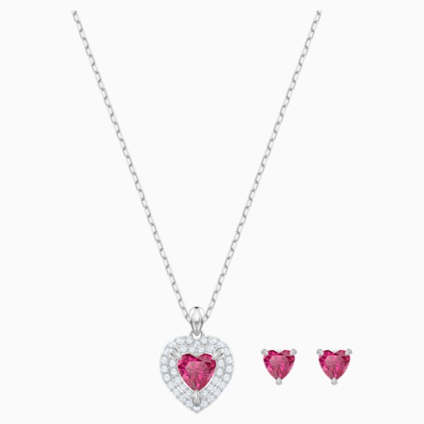 One Set, Red, Rhodium plated - Swarovski, 5470602